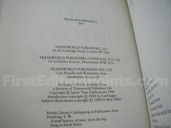 This is the copyright page from the UK first edition.
