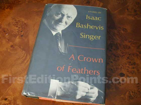 Picture of the 1973 first edition dust jacket for A Crown of Feathers.