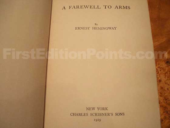 This is the first trade edition title page for A Farewell to Arms.
