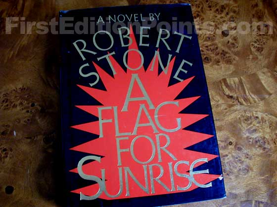 Picture of the 1981 first edition dust jacket for A Flag for Sunrise.
