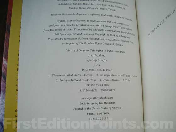 Picture of the first edition copyright page for A Free Life.