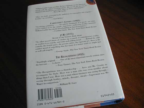 Picture of the back dust jacket for the first edition of A Frolic of His Own.