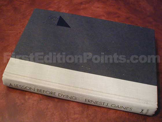 Picture of the first edition Alfred A. Knopf boards for A Lession Before Dying.