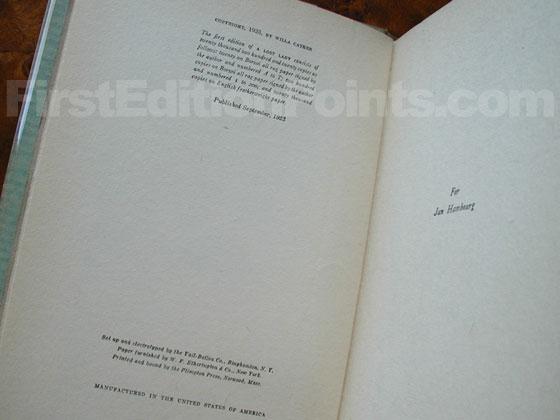 Picture of the first edition copyright page for A Lost Lady.