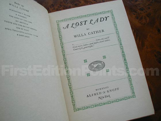 Picture of the first edition title page for A Lost Lady.