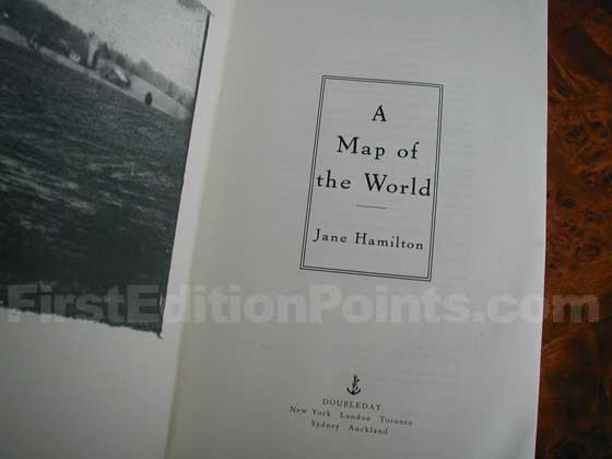 Picture of the first edition title page for A Map of the World.