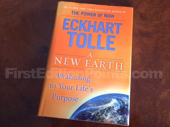 Picture of the 2005 first edition dust jacket for A New Earth.
