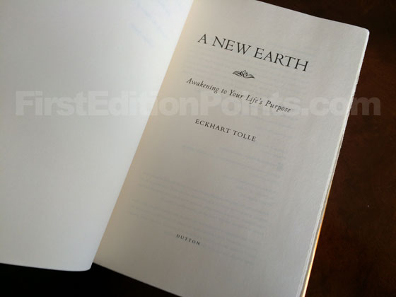 Picture of the first edition title page for A New Earth.
