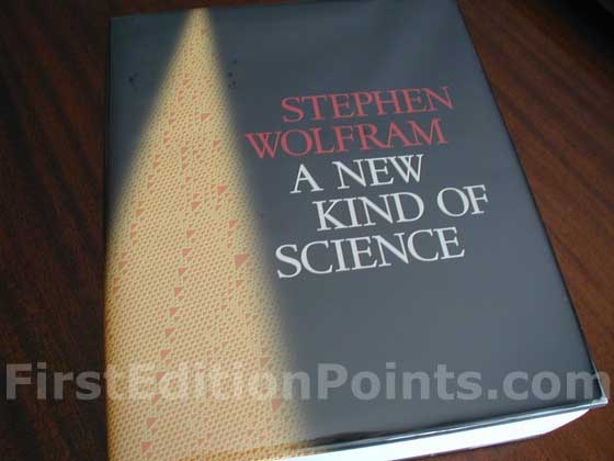 Picture of the 2002 first edition dust jacket for A New Kind of Science.