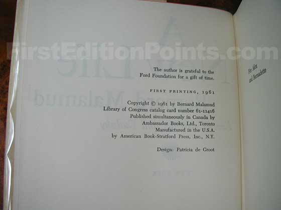 Picture of the first edition copyright page for A New Life.