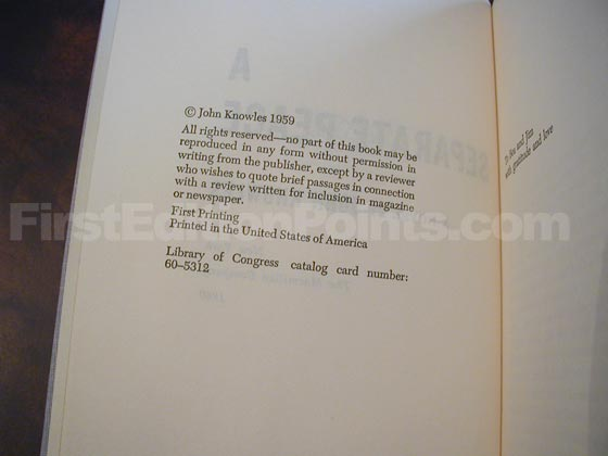 Picture of the first edition copyright page for A Separate Peace (U.S.).