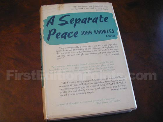 This is the second issue dust jacket for the first U.S. edition of A Separate Peace.