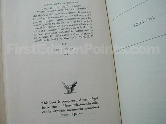 Picture of the first edition copyright page for A Tree Grows in Brooklyn.