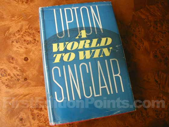 Picture of the 1946 first edition dust jacket for A World to Win.