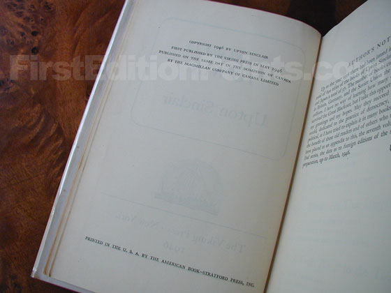 Picture of the first edition copyright page for A World to Win.