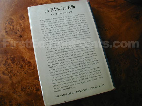 Picture of the back dust jacket for the first edition of A World to Win.