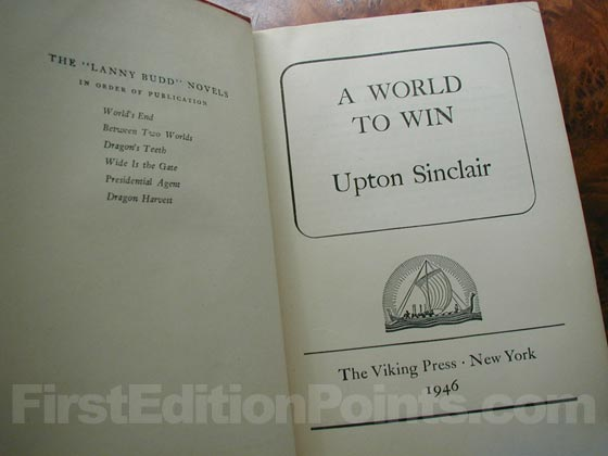 Picture of the first edition title page for A World to Win.