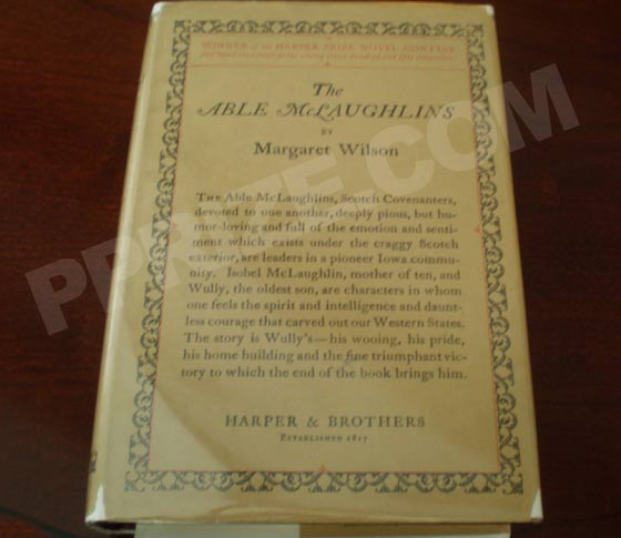 Picture of the 1923 first edition dust jacket for The Able McLaughlins.