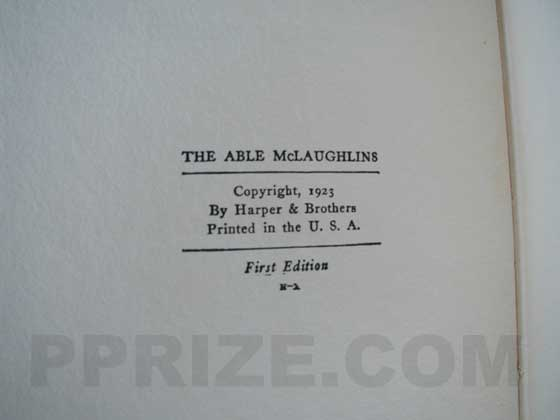 Picture of the first edition copyright page for The Able McLaughlins.