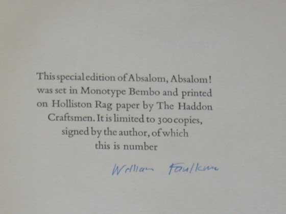 This is the signature page from the signed first limited edition.