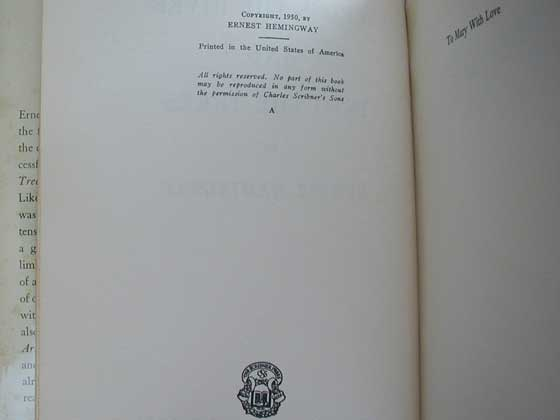 Picture of the 1950 first American edition copyright page for Across the River and into