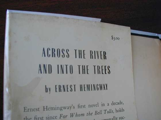 Picture of the 1950 first American edition dust jacket front flap for Across the River