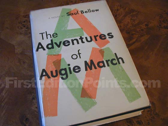 Picture of the 1953 first edition dust jacket for The Adventures of Augie March.