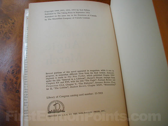 Picture of the first edition copyright page for The Adventures of Augie March.