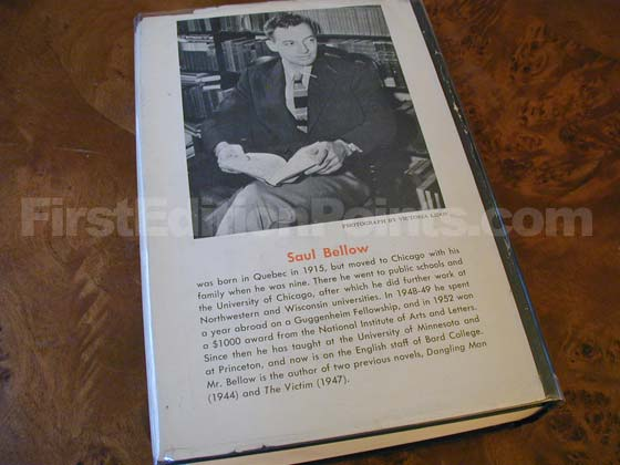 Picture of the back dust jacket for the first edition of The Adventures of Augie March.