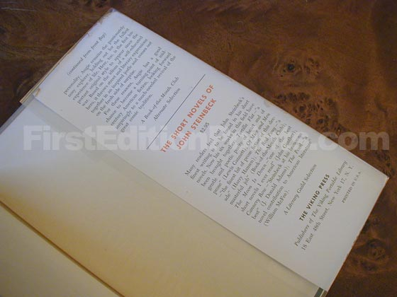 Picture of the back dust jacket flap for the first edition of The Adventures of Augie