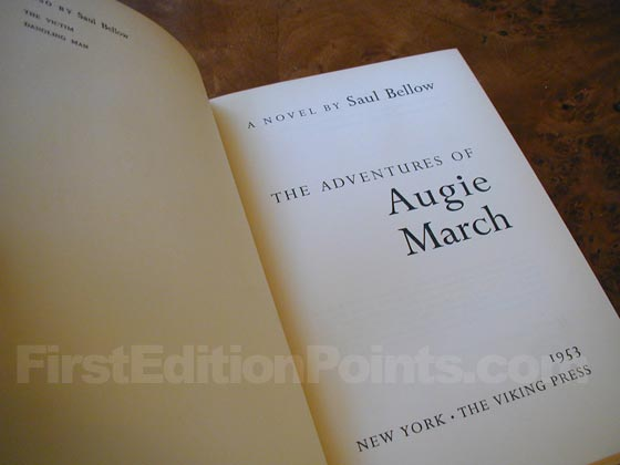 Picture of the first edition title page for The Adventures of Augie March.