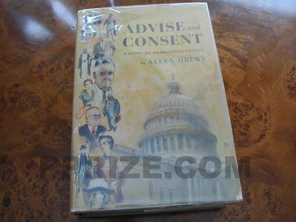 Picture of the 1959 first edition dust jacket for Advise and Consent.