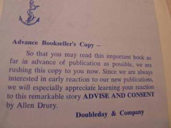 This is a review slip from an Advance Bookseller's Copy of Advise and Consent.  Photo