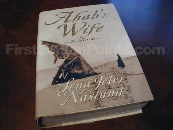 Picture of the 1999 first edition dust jacket for Ahab's Wife.