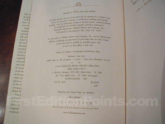 Picture of the first edition copyright page for Ahab's Wife.