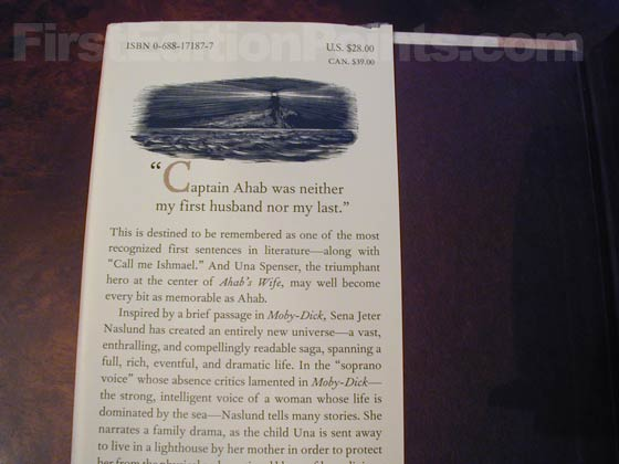 Picture of dust jacket where original $28.00 price is found for Ahab's Wife.