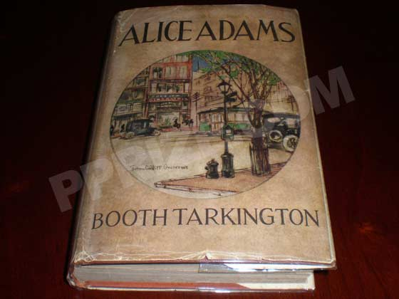 Picture of the 1921 first edition dust jacket for Alice Adams.