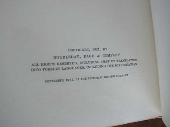 Picture of the first edition copyright page for Alice Adams.