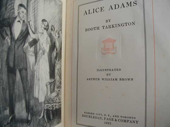 Picture of the first edition title page for Alice Adams.