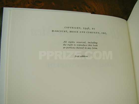 Picture of the first edition copyright page for All the King's Men.