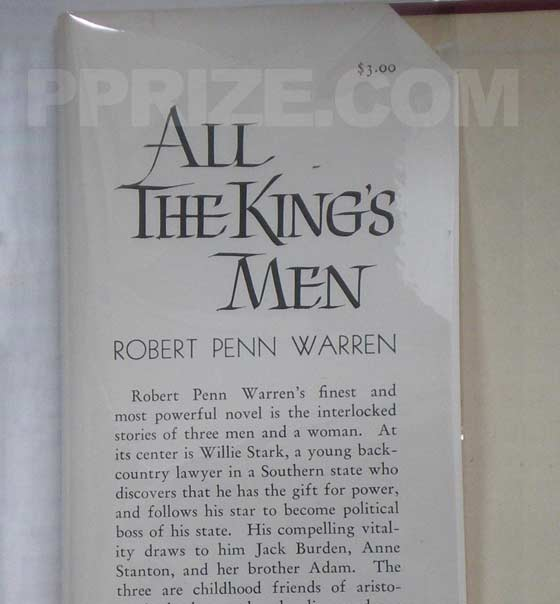 Picture of dust jacket where original $3.00 price is found for All the King's Men.