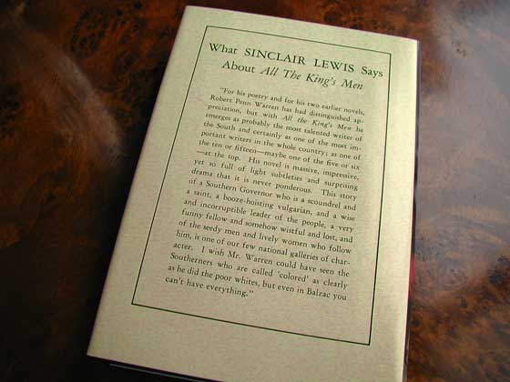 Picture of the back dust jacket for the first edition of All the King&#39;s Men.