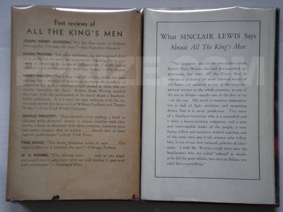 On the right is the first issue jacket for All the King's Men.  It has a single