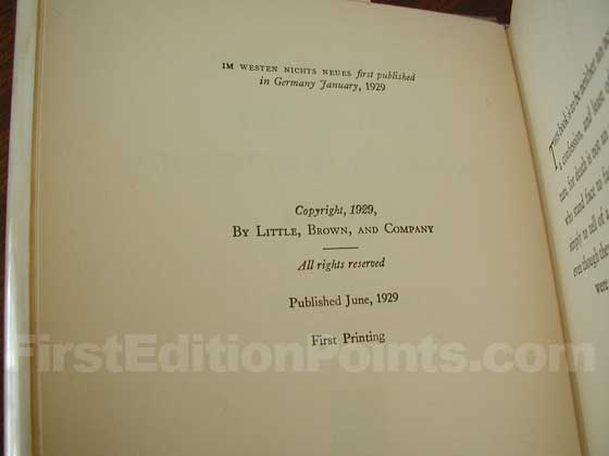 Picture of the first edition copyright page for All Quiet on the Western Front.