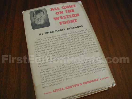 Picture of the back dust jacket for the first edition of All Quiet on the Western Front.