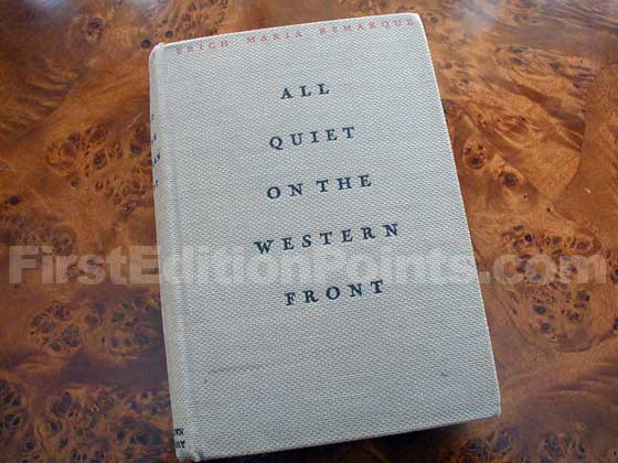 Picture of the first edition Little Brown and Company boards for All Quiet on the Western