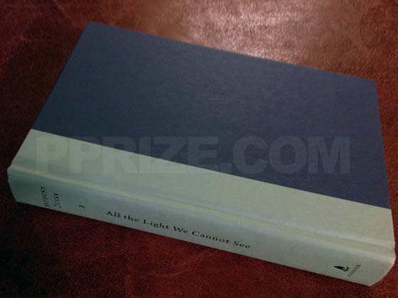 Picture of the first edition Scribner boards for All the Light We Cannot See.