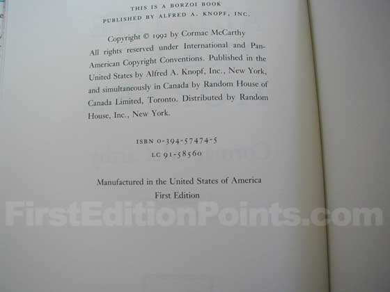 Picture of the first edition copyright page for All the Pretty Horses.