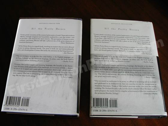 On the left is the rare first edition variant jacket with four reviews.  On the right is