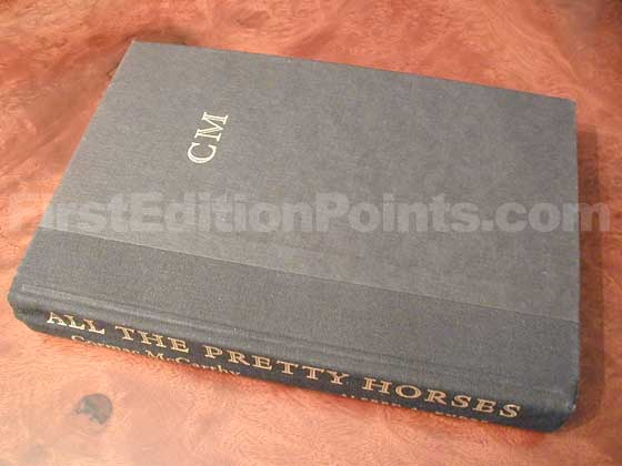 Picture of the first edition Alfred A. Knopf boards for All the Pretty Horses.